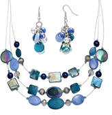 JCPenney MIXIT Mixit Blue and Silver-Tone Shell Cluster Earring and 3-Row Illusion Necklace Set