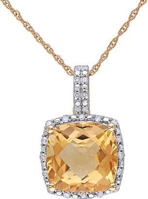 Rina Limor Fine Jewelry 10K 4.10 Ct. Tw. Diamond & Citrine Pendant Necklace