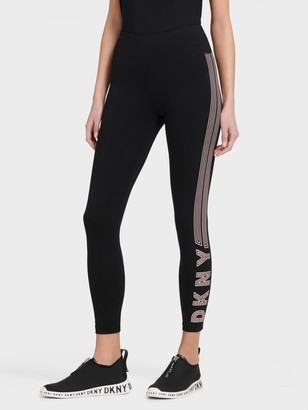 DKNY Women's High Waist Legging With Track Logo - Black - Size XS