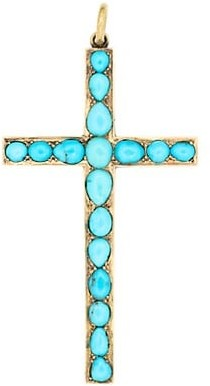 Stephanie Windsor Victorian 15K Yellow Gold & Persian Turquoise Large Cross Pendant