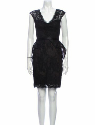 Marchesa Notte Lace Pattern Mini Dress Black