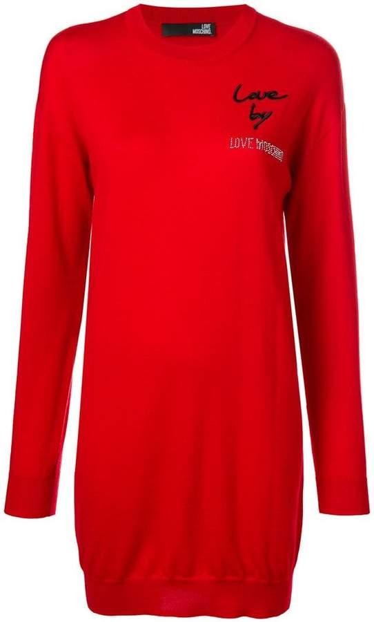 Love Moschino embellished logo sweatshirt dress
