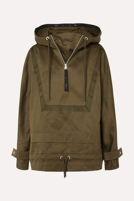 Reebok x Victoria Beckham Hooded Grosgrain-trimmed Cotton-canvas Jacket - Army green