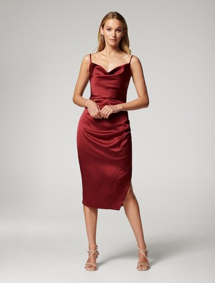 Forever New Laura Satin Cowl-Neck Ruched Midi Dress - Cabernet - 10