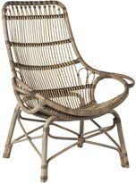 GLOBE WEST Deck Chairs Tango Liso Rattan Occasional Chair, GW Liso Greywash