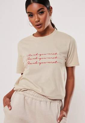 Missguided Sand Thank You Next Graphic T Shirt