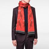 Paul Smith Men's Burnt Orange 'Dino' Pattern Wool Scarf