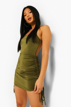 boohoo Petite Ruched Backless Bodycon Dress