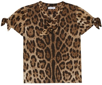 Dolce & Gabbana Kids Leopard-print cotton top