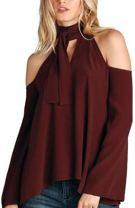 Elan International Cold Shoulder Tie Top