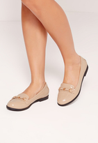 Missguided Metal Bar Detail Loafer Shoes Nude