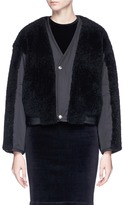 Alexander Wang Sheepskin shearling panelled cropped twill bomber jacket