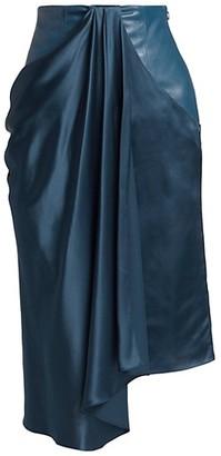 Alejandra Alonso Rojas Satin & Leather Draped Skirt