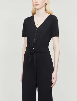 Whistles Buttoned tied-front linen T-shirt