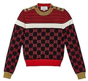 Gucci Women's Long-Sleeve Cotton Stripe Buttoned Sweater