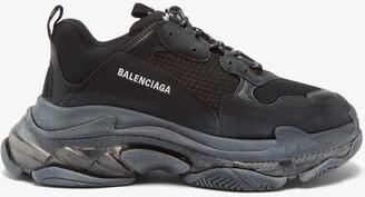 Balenciaga Triple S Nubuck Trainers - Mens - Black