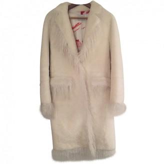 Saks Potts White Fur Coat for Women