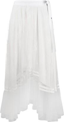 Chloé Draped Floral Lace Skirt