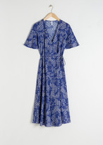 And other stories Ruffle Sleeve Cotton Wrap Dress