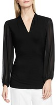 Vince Camuto Women's Chiffon Sleeve V-Neck Top