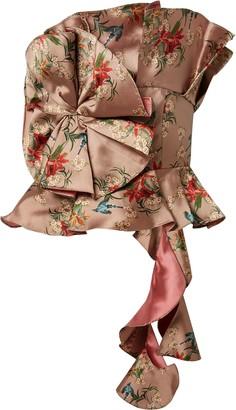 Johanna Ortiz Fairy Tale Ruffled Floral-print Satin-jacquard Top