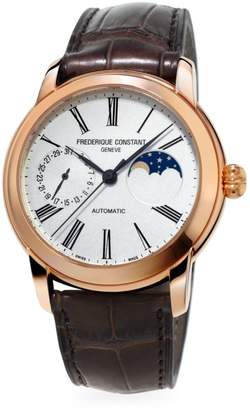 Frederique Constant Classics Moonphase Manufacture Automatic Rose Goldtone & Leather Strap Watch