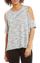 M.S.S.P. Round Neck Short Sleeve Cold-Shoulder Sweater