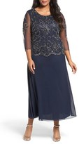 Pisarro Nights Plus Size Women's Embellished Bodice Overlay Maxi Dress