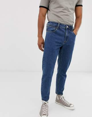 Asos Design DESIGN classic rigid jeans with elasticated waist in dark stone wash-Blue