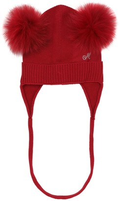 MonnaLisa Wool Blend Knit Hat W/ Pompoms