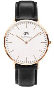 Daniel Wellington Classic Sheffield Leather Strap Watch