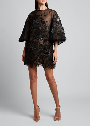 Andrew Gn Embroidered Organza Tunic Cocktail Dress