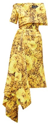 Richard Quinn Abstract Sunflower-print Asymmetric Satin Dress - Yellow Multi