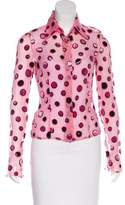 Gianni Versace Polka Dot Button-Up Top