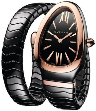 Bvlgari Serpenti Spiga Rose Gold & Black Ceramic Single Twist Watch