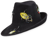 Philip Treacy Sidesweep Fedora w/ Beaded Beetles