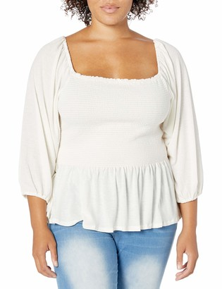 Jessica Simpson Women's Sherrie Square Neck Smocked Top