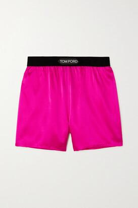 TOM FORD - Velvet-trimmed Silk-blend Satin Shorts - Pink