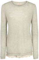 Fat Face Sophie Knitted Lace Trim Jumper, Light Grey