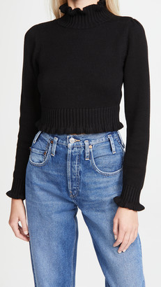 525 Cropped Ruffle Mock Neck Sweater