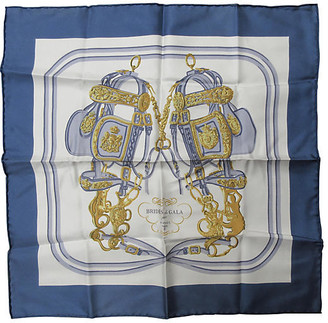 One Kings Lane Vintage Hermes Brides de Gala Pochette Scarf - The Emporium Ltd. - Blue/white/gray/gold/black/silver