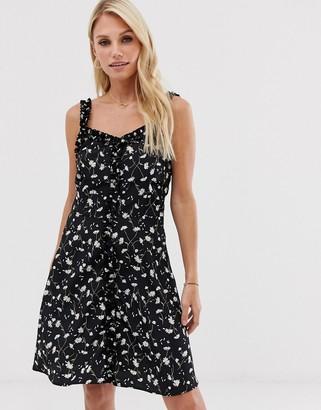 Vila daisy print mini dress with ruffle detail
