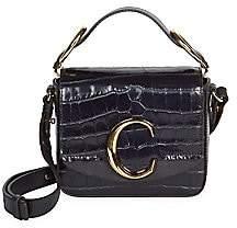 Chloé Women's Mini C Croc-Embossed Leather Crossbody Bag