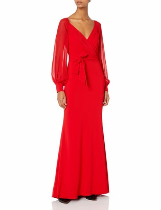 Badgley Mischka Women's Wrap Dress Gown
