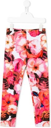Msgm Kids Floral Print Leggings
