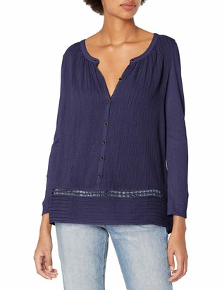 Lucky Brand Women's Mixed-Fabric Peasant Top