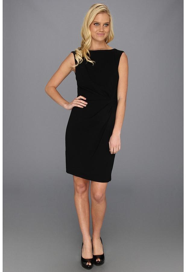 Suzi Chin for Maggy Boutique - Sleeveless Draped Side Sheath (Black) - Apparel