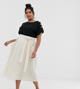 ASOS DESIGN Curve wrap midi skirt with tie side and pockets