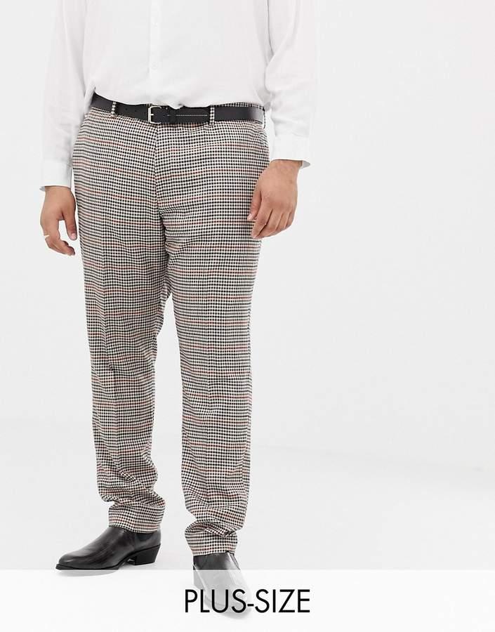 Gianni Feraud Plus slim fit heritage check wool blend suit pants