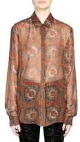Saint Laurent Printed Silk Metallic Stripe Blouse